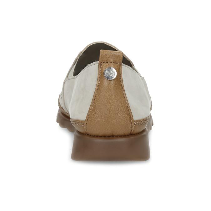 Béžová kožená Slip-on obuv s perforací comfit, béžová, 516-8614 - 15