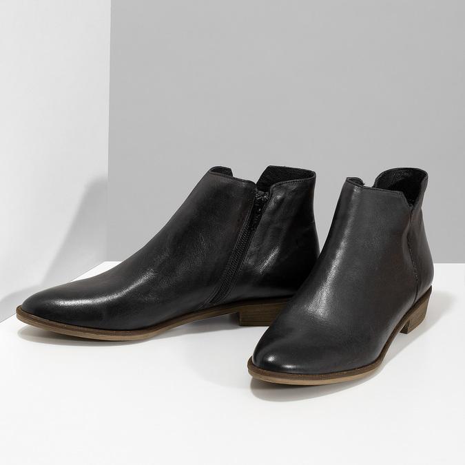 Černé kožené kotníčkové kozačky bata, černá, 526-6666 - 16