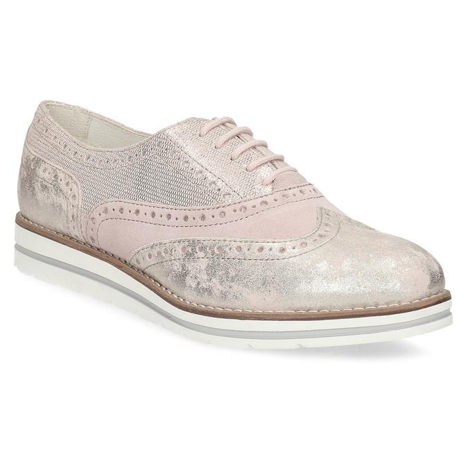 Dámské kožené polobotky růžové bata, růžová, 546-5620 - 13