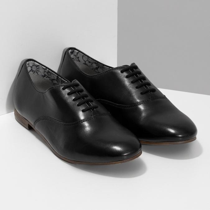 Černé kožené dámské polobotky bata, černá, 544-6603 - 26