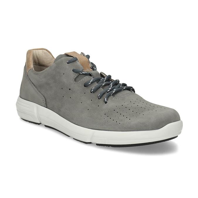 Pánské šedé kožené tenisky s perforací bata-light, šedá, 846-2722 - 13