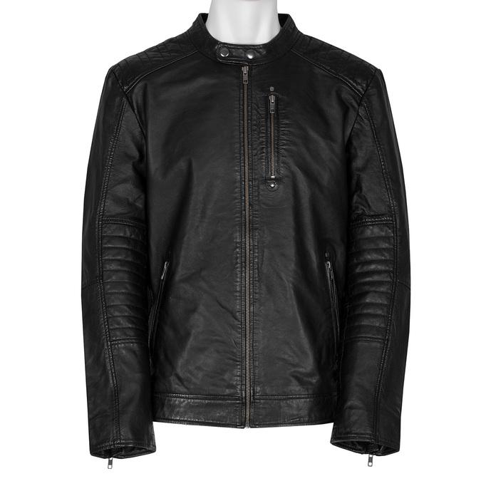 Černá pánská kožená bunda s prošitím bata, černá, 974-6158 - 13