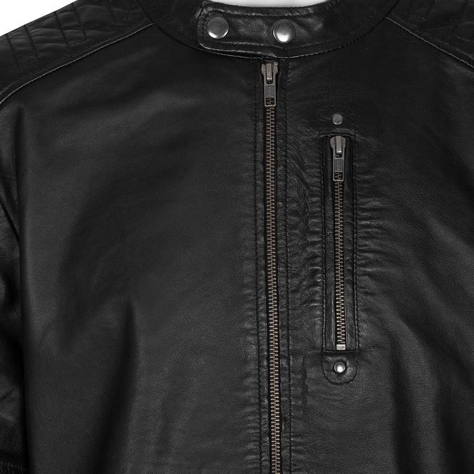 Černá pánská kožená bunda s prošitím bata, černá, 974-6158 - 16