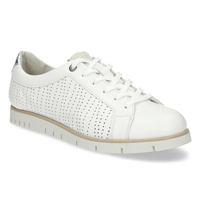 Bílé kožené dámské tenisky s perforací flexible, bílá, 524-1606 - 13