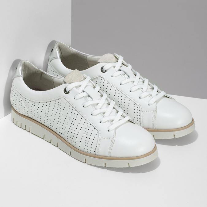 Bílé kožené dámské tenisky s perforací flexible, bílá, 524-1606 - 26