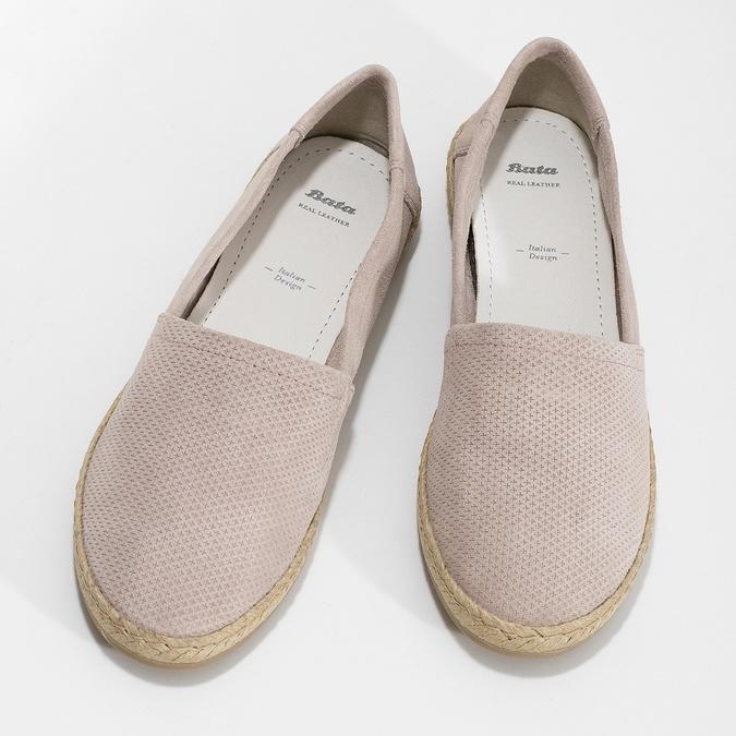 Dámské kožené espadrilky růžové bata, růžová, 533-5602 - 16