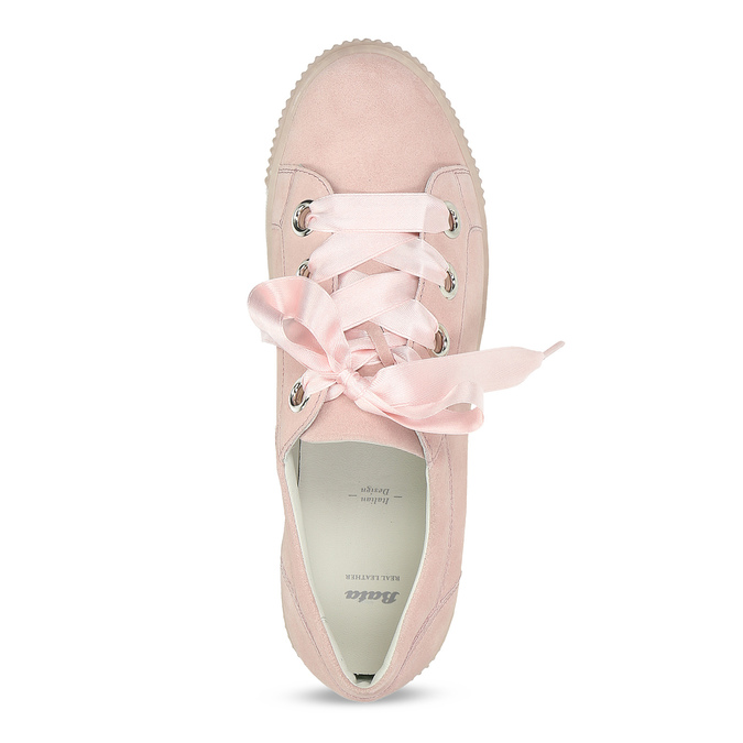 Dámské kožené tenisky s mašlí růžové bata, růžová, 543-5600 - 17