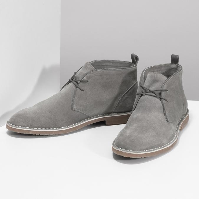 Pánské kožené Desert Boots šedé bata, šedá, 823-8655 - 16