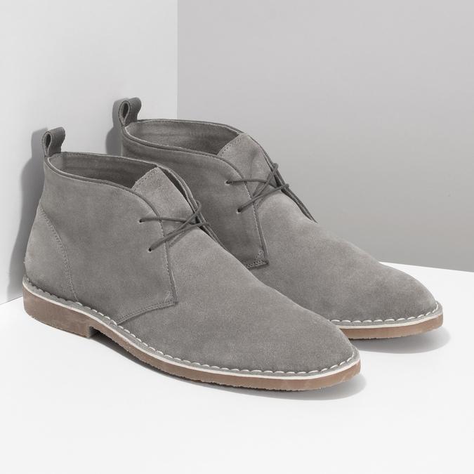 Pánské kožené Desert Boots šedé bata, šedá, 823-8655 - 26