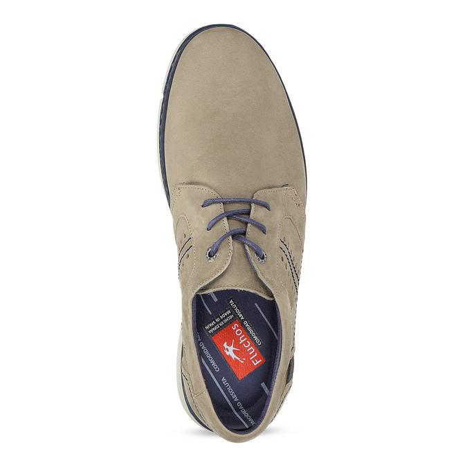 Béžové kožené polobotky s modrými detaily fluchos, béžová, 826-8845 - 17