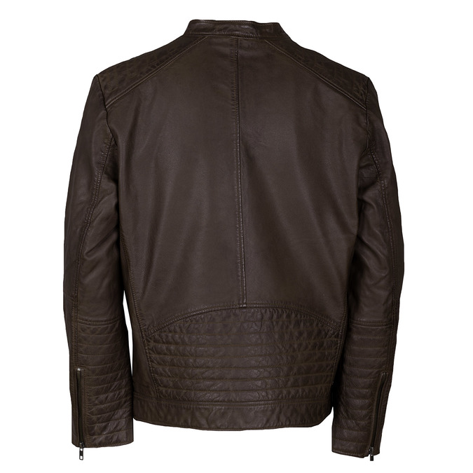 Hnědá pánská kožená bunda na zip bata, hnědá, 974-4158 - 26
