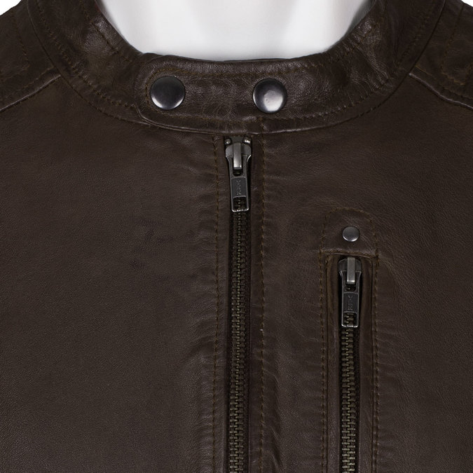Hnědá pánská kožená bunda na zip bata, hnědá, 974-4158 - 16