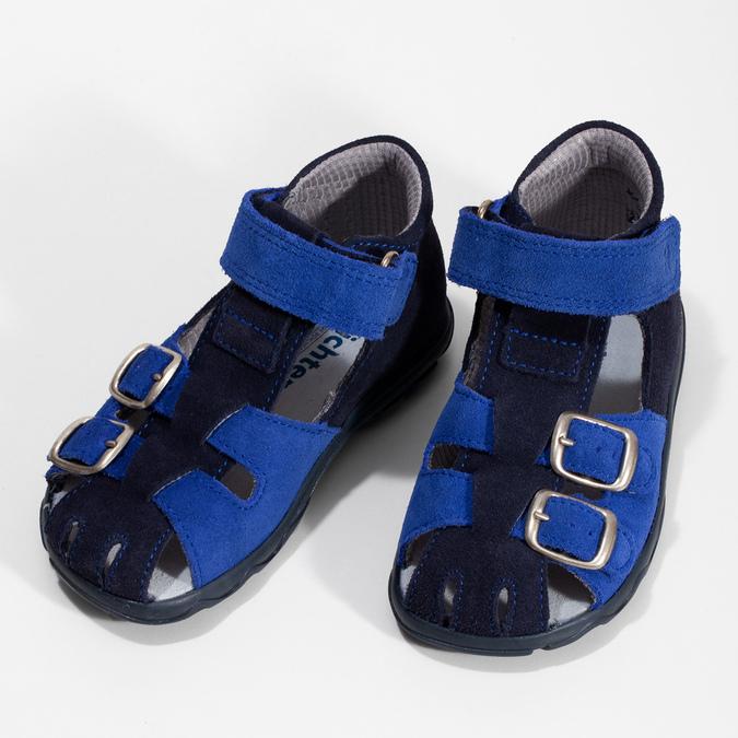 Kožené chlapecké sandály s přezkami richter, modrá, 163-9103 - 16