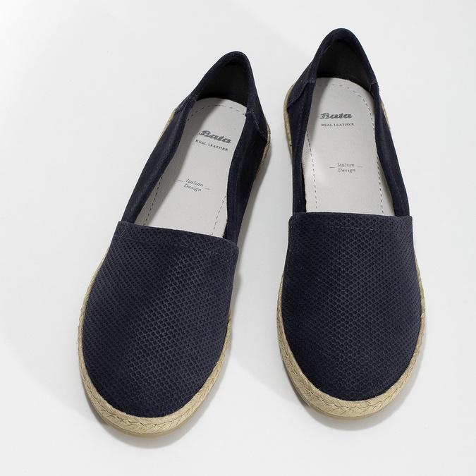 Tmavě modré kožené Espadrilky bata, modrá, 533-9602 - 16