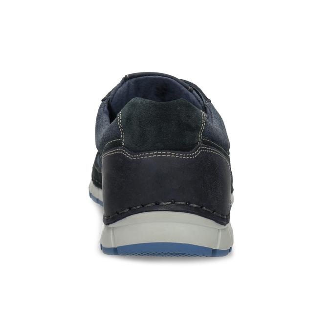 Ležérní pánské tenisky z broušené kůže bata, modrá, 843-9646 - 15