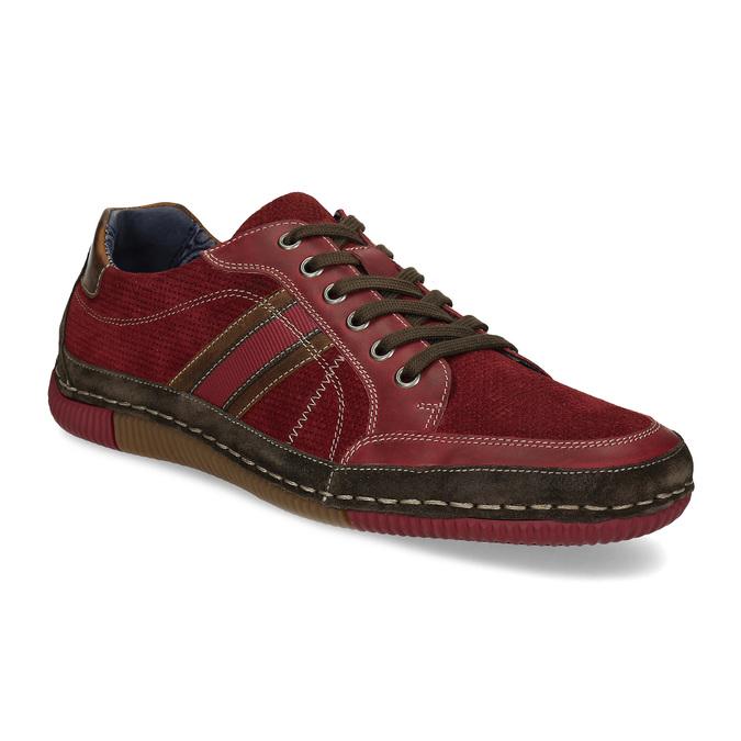Červené pánské ležérní tenisky s prošíváním bata, červená, 846-0730 - 13