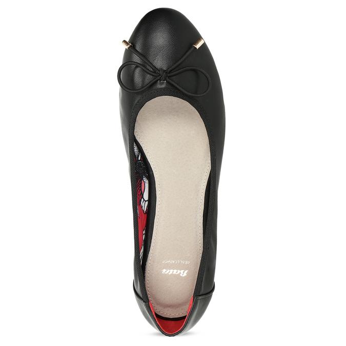 Černé baleríny s mašlí bata, černá, 521-6650 - 17
