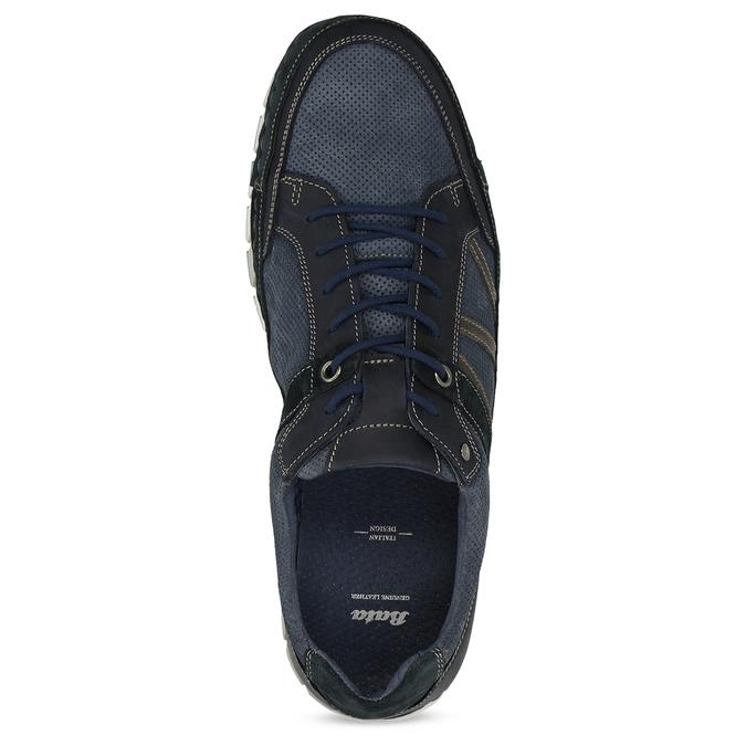 Ležérní pánské tenisky z broušené kůže bata, modrá, 843-9646 - 17