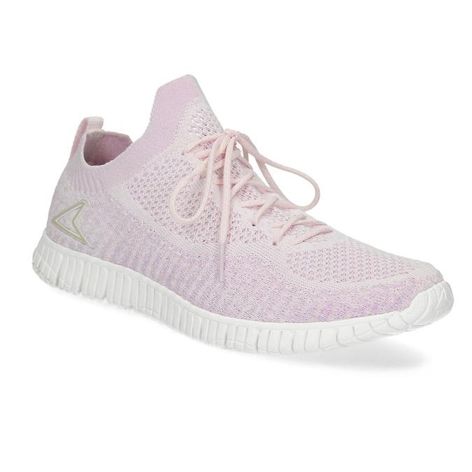 Růžové dámské tenisky v pleteném stylu power, růžová, 509-5520 - 13