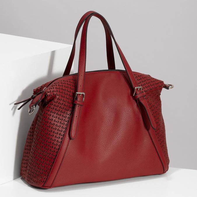 Červená dámská kabelka s perforací bata, červená, 961-5888 - 17
