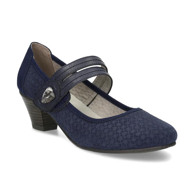 Tmavě modré lodičky z broušené kůže bata, modrá, 623-9646 - 13