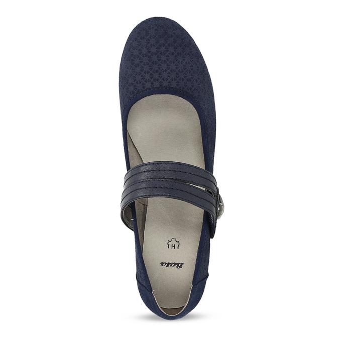 Tmavě modré lodičky z broušené kůže bata, modrá, 623-9646 - 17