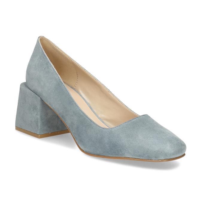 Modré dámské lodičky z broušené kůže bata, modrá, 623-9647 - 13