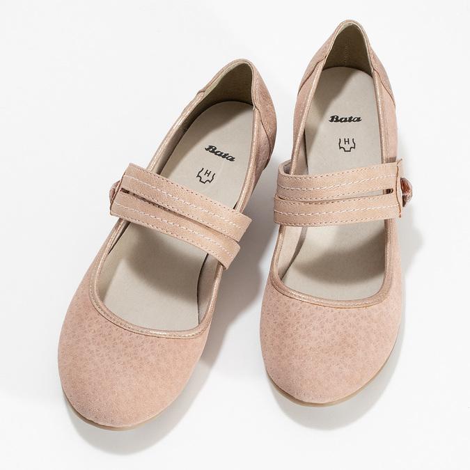 Růžové dámské lodičky z broušené kůže bata, růžová, 623-5646 - 16
