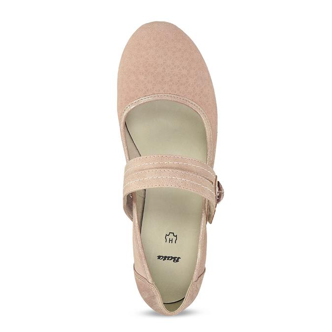 Růžové dámské lodičky z broušené kůže bata, růžová, 623-5646 - 17