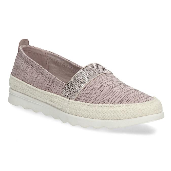 Dámské starorůžové mokasíny s kamínky bata, růžová, 519-5610 - 13