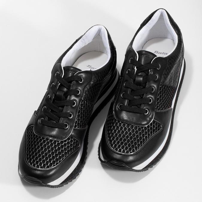 Černé dámské tenisky s výraznou podešví bata-light, černá, 521-6647 - 16