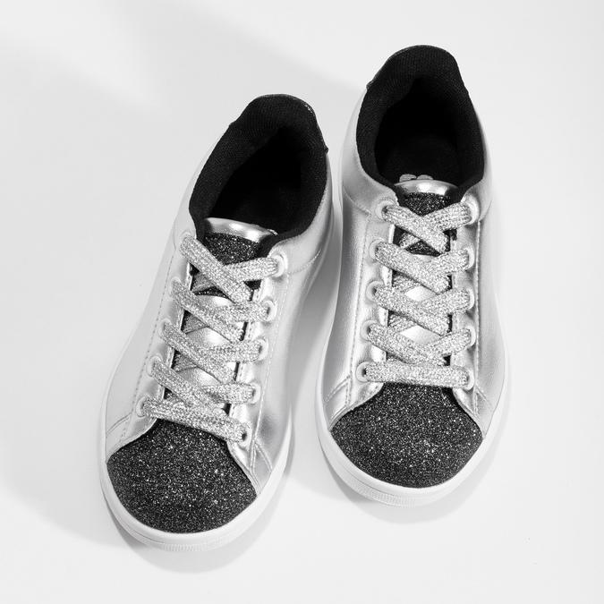 Stříbrné dětské tenisky se třpytkami mini-b, stříbrná, 321-1410 - 16