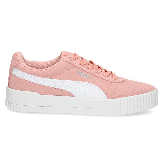 Růžové kožené tenisky s bílými detaily puma, růžová, 503-5188 - 19
