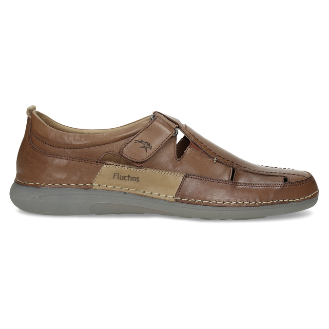Kožené sandály hnědé fluchos, hnědá, 856-3621 - 19