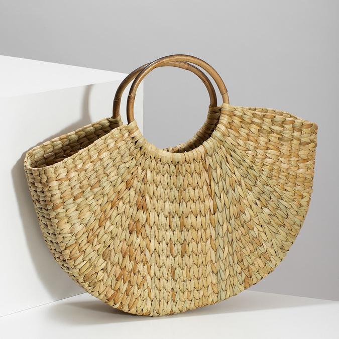 Proutěná dámská plážová kabelka bata, béžová, 969-8784 - 17