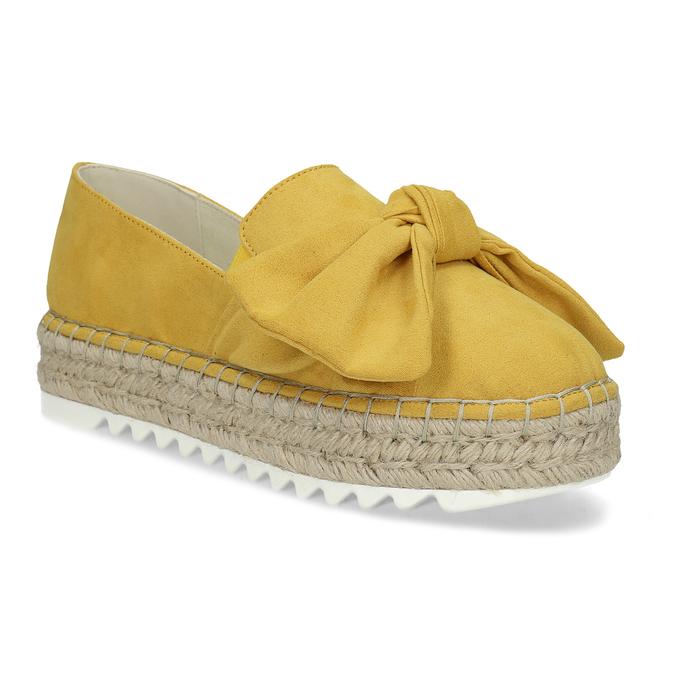Žluté dámské espadrilky s mašlí bata, žlutá, 559-8607 - 13