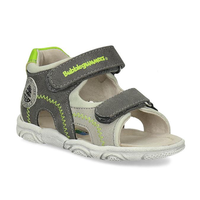 Šedé dětské sandály se zelenými detaily bubblegummers, šedá, 161-3614 - 13