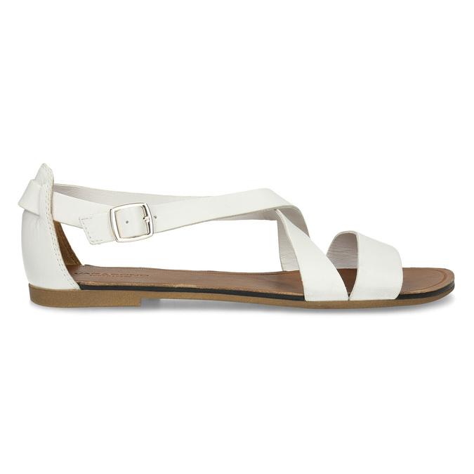 Bílé dámské kožené sandály vagabond, bílá, 564-1028 - 19