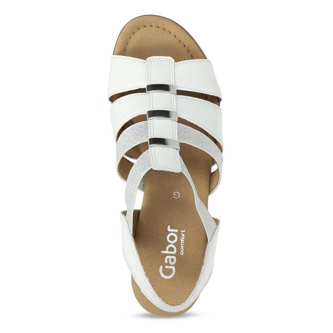 Bílé kožené sandály se stříbrnými detaily gabor, bílá, 664-1605 - 17