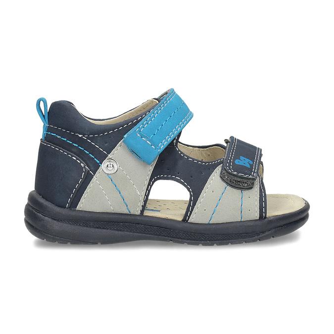 Modré dětské sandály s výrazným prošitím bubblegummers, modrá, 161-9613 - 19