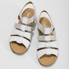 Bílé kožené sandály se stříbrnými detaily gabor, bílá, 664-1605 - 16