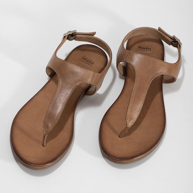 Hnědé kožené dámské sandály bata, hnědá, 564-3603 - 16