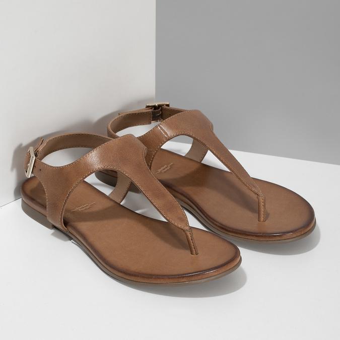 Hnědé kožené dámské sandály bata, hnědá, 564-3603 - 26