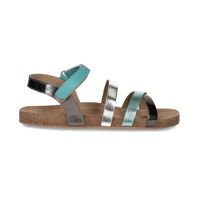 Kožené dětské sandály na suchý zip mini-b, tyrkysová, 466-7611 - 19