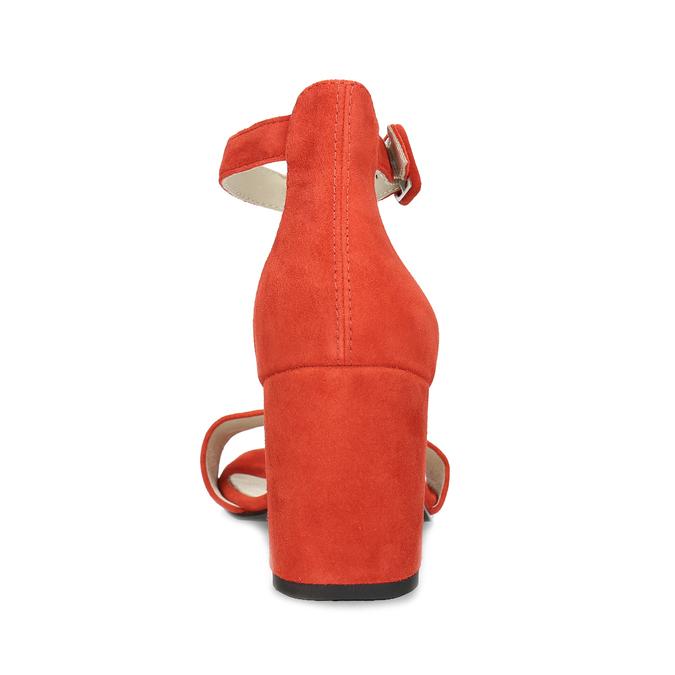 Červené kožené sandály na stabilním podpatku vagabond, červená, 623-5023 - 15