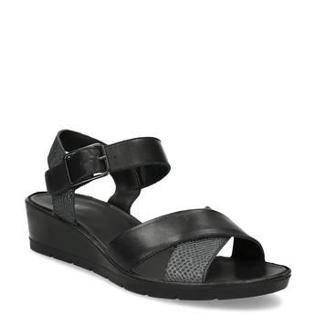 Kožené dámské sandály na klínku bata, černá, 664-6605 - 13
