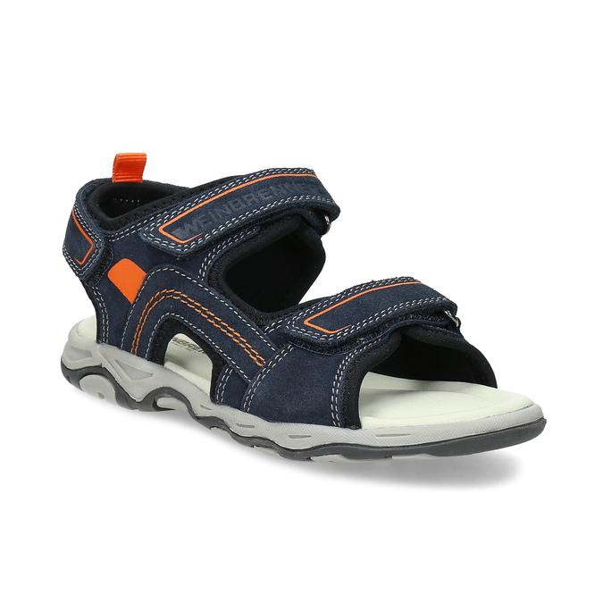 Sandály modré kožené weinbrenner, modrá, 463-9618 - 13