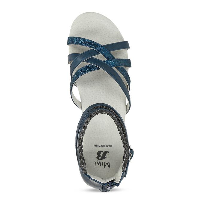 Dívčí sandály z kůže mini-b, modrá, 461-9620 - 17