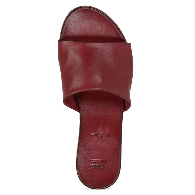 Vínové dámské nazouváky kožené bata, hnědá, 564-3602 - 17