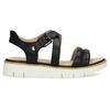 Černé dámské kožené sandály na světlé podešvi flexible, černá, 563-6601 - 19